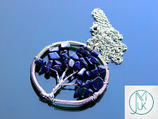 Handmade Blue Goldstone Tree of Life Manmade Gemstone Pendant Necklace 50cm