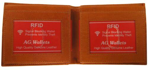 Ag Wallets Mens RFID Wallet Bifold 2 Flip Up ID Card Holder Cowhide Leather