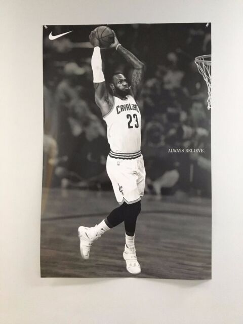 efb5189a7a1 ... reduced lebron james dunk cleveland cavs always believe nike poster  rare brand new huge 246ae a2a0f