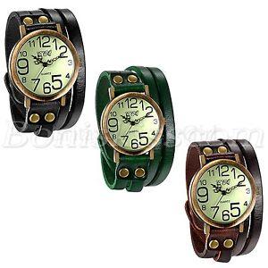 Herren-Damen-Retro-Leder-Armband-Quarz-Armbanduhr-Twisted-Armband-Armreif-Manschette