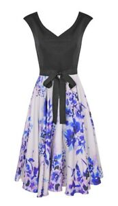 Floral Amalfi N 8 Dress Skater Once Eight Flare Fit Phase Blue Black 50's £159 qH4w05xC