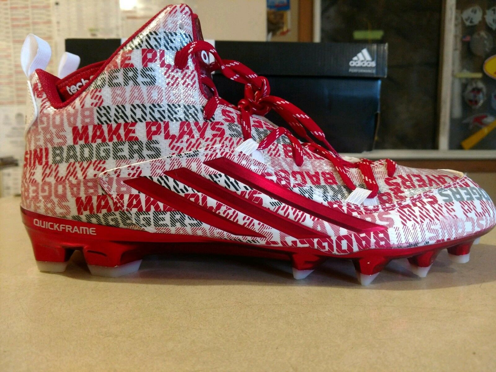Addias Crazyquick C76151 Wisconsin Badger's Football Cleat Team Issued