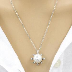 Hot-Women-Pearl-Sun-Flower-Bling-Rhinestone-Pendant-Long-Chain-Necklace-Gift