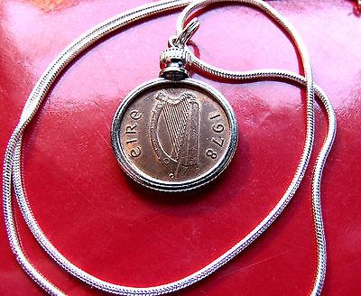 "Lucky Rare 1942 IRELAND Gaelic Harp Penny Bezel on 18/"" 925 Silver Snake Chain"