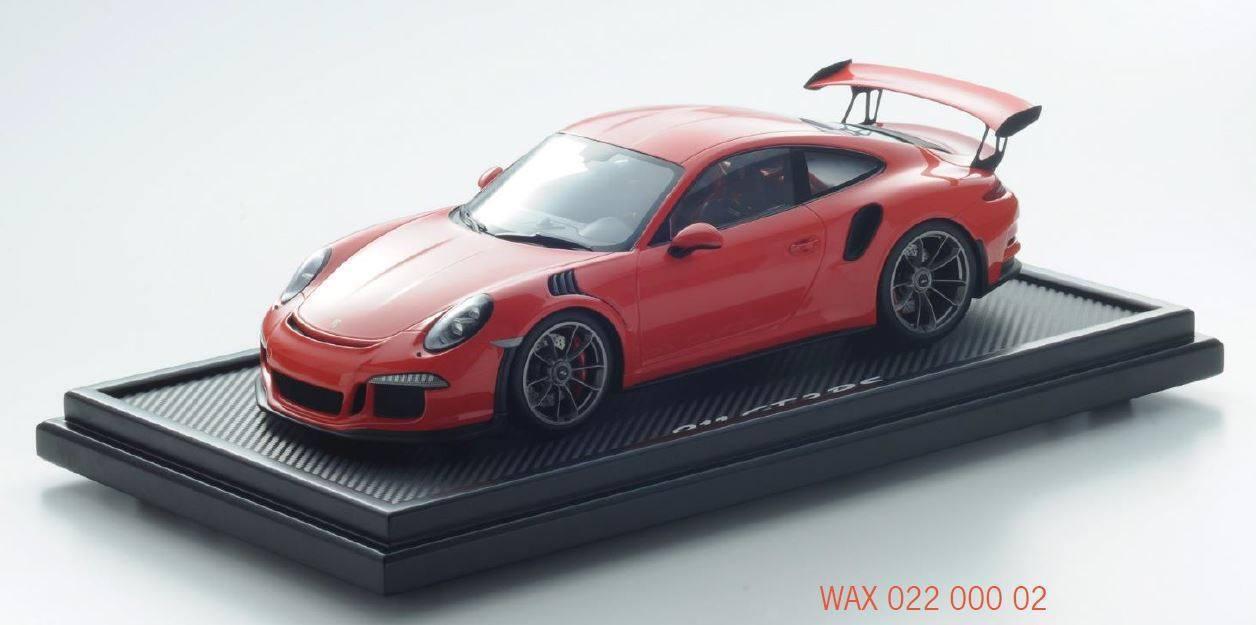 Original Porsche 911 gt3 rs lavaOrange modèle avec Vitrine 1 12 Spark wax02200002