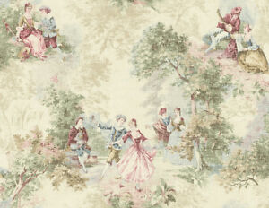 Wallpaper-Designer-French-Toile-Faux-Tapestry-Green-Blue-Red-Pink-on-Cream
