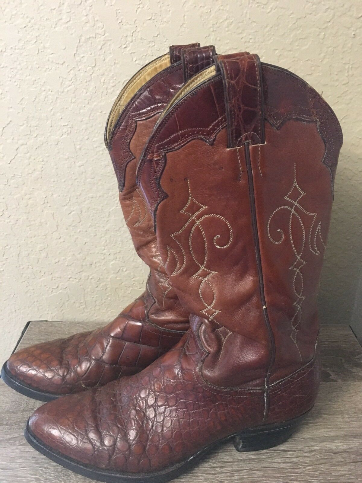 Vintage Justin Genuine Alligator Belly Cowboy Boots 9170 Made In USA Men's 8.5 D