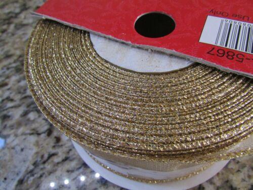 "NEW 100 FEET WIRE EDGED 2 1//2/"" METALLIC GOLD RIBBON  FREE SHIP"