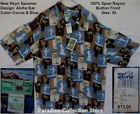 Reyn Spooner Beautiful Aloha Bar Cocoa And Blue Spun Rayon Size Xl
