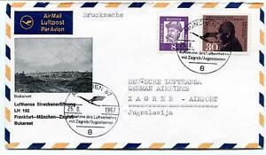 Ffc 1967 Lufthansa First Flight Lh193 Bucaresti Zagreb Munchen Frankfurt Romania PosséDer Des Saveurs Chinoises