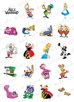 20 NAIL DECALS * ALICE IN WONDERLAND * CHARACTER THEMED WATER SLIDE NAIL DECALS