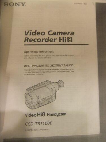 Instructions SONY Video camera Hi8 Handycam CCD-TR1100E CD//Email