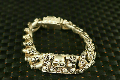 Chinese tibet miao silver hand gift cool skull head statue fashion bracelet nice