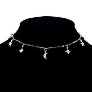 Babero-Chapado-en-oro-Zircon-Collar-Gargantilla-Colgante-Estrella-luna-Collar