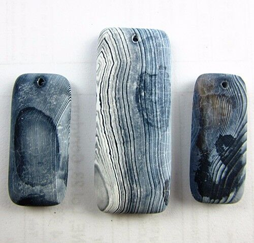 3PCS Beautiful unique gray scrub stripes agate oblong pendant bead Vk3469