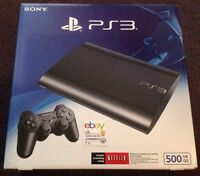 X2 Sony Playstation 3 Ps3 Super Slim 500 Gb Charcoal Black Console Sealed