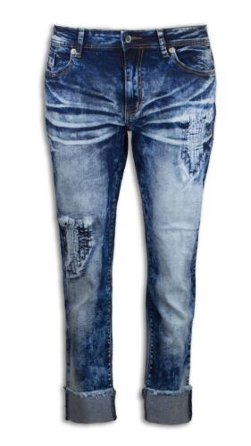 NEW Women Boyfriend Denim Ripped Distressed Jeans Patched Acid Wash Blue White