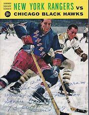 Bobby Hull signed 12th NHL Hat Trick program 1964 Blackhawks at Rangers