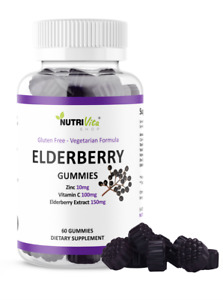 Black Elderberry Gummies Vitamin C Zinc 260mg Natural Berry Flavor Immune Boost