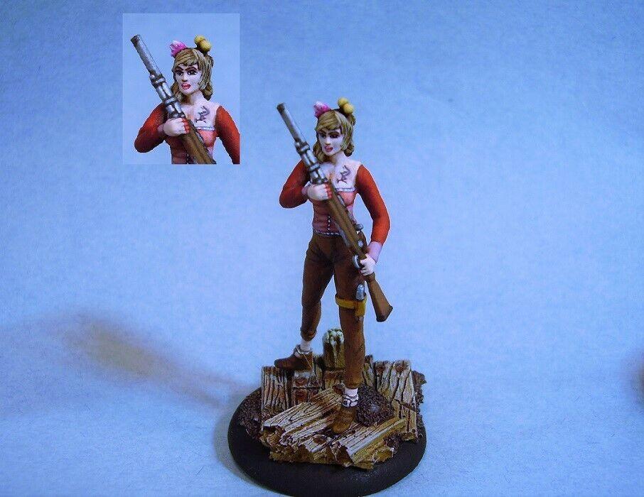 Wyrd Malifaux painted miniature cute sexy Female Warrior with Shotgun