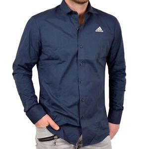 Adidas-Herren-Hemd-klassisch-Freizeit-Business-Shirt-Stretch-langarm-dunkelblau