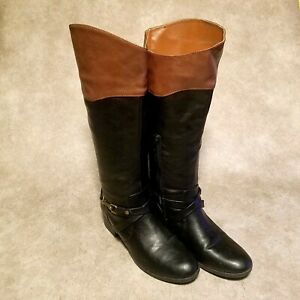 Rampage Womens Ilissa Sz 7 M Black Brown Leather Knee High Riding Boots