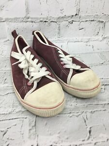 Next-Women-039-s-Sneakers-Lace-Up-Burgundy-Purple-Suede-Feel-Trainers-Size-UK-7-US-9