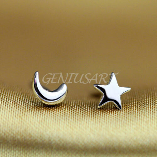 2Pairs Star and Moon Ear Stud Earrings Women/'s Tiny 925 Sterling Silver Jewelry