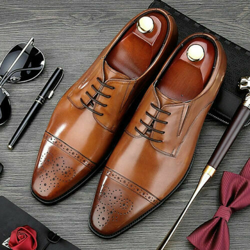 Mens Handmade shoes Tan Leather Oxford Brogue ToeCap Lace-Up Derby Formal Boots