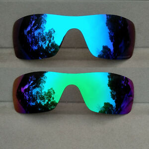 Ice-Blue-amp-Green-Mirror-Replacement-Lenses-for-Oakley-Batwolf-Sunglasses-Polarized