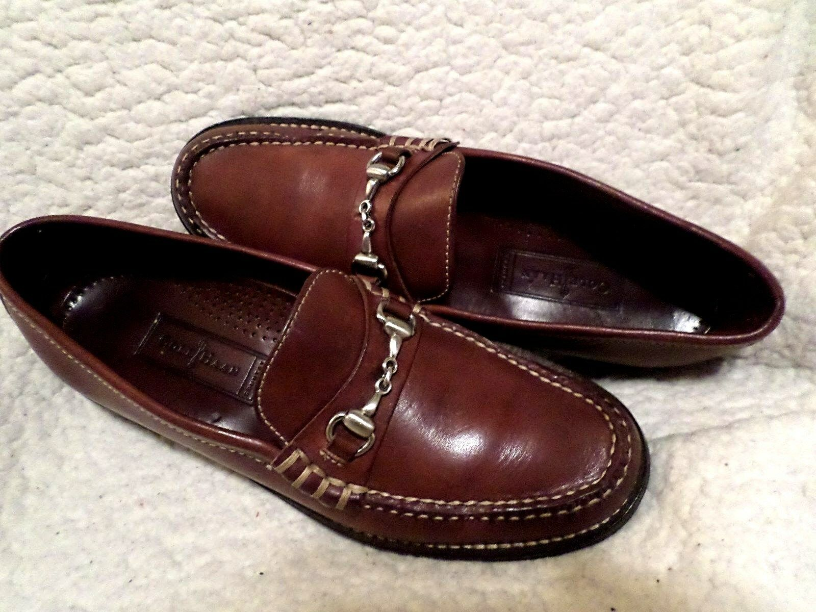 COLE HAAN  LEATHER LOAFERS MEN PREOWN TOP QUALITY-CARMEL-sz 8 AA