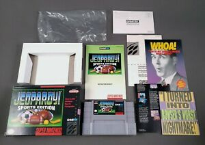 JEOPARDY-SPORTS-EDITION-COMPLETE-1993-Super-Nintendo-SNES-CLEAN-PINS-Authentic
