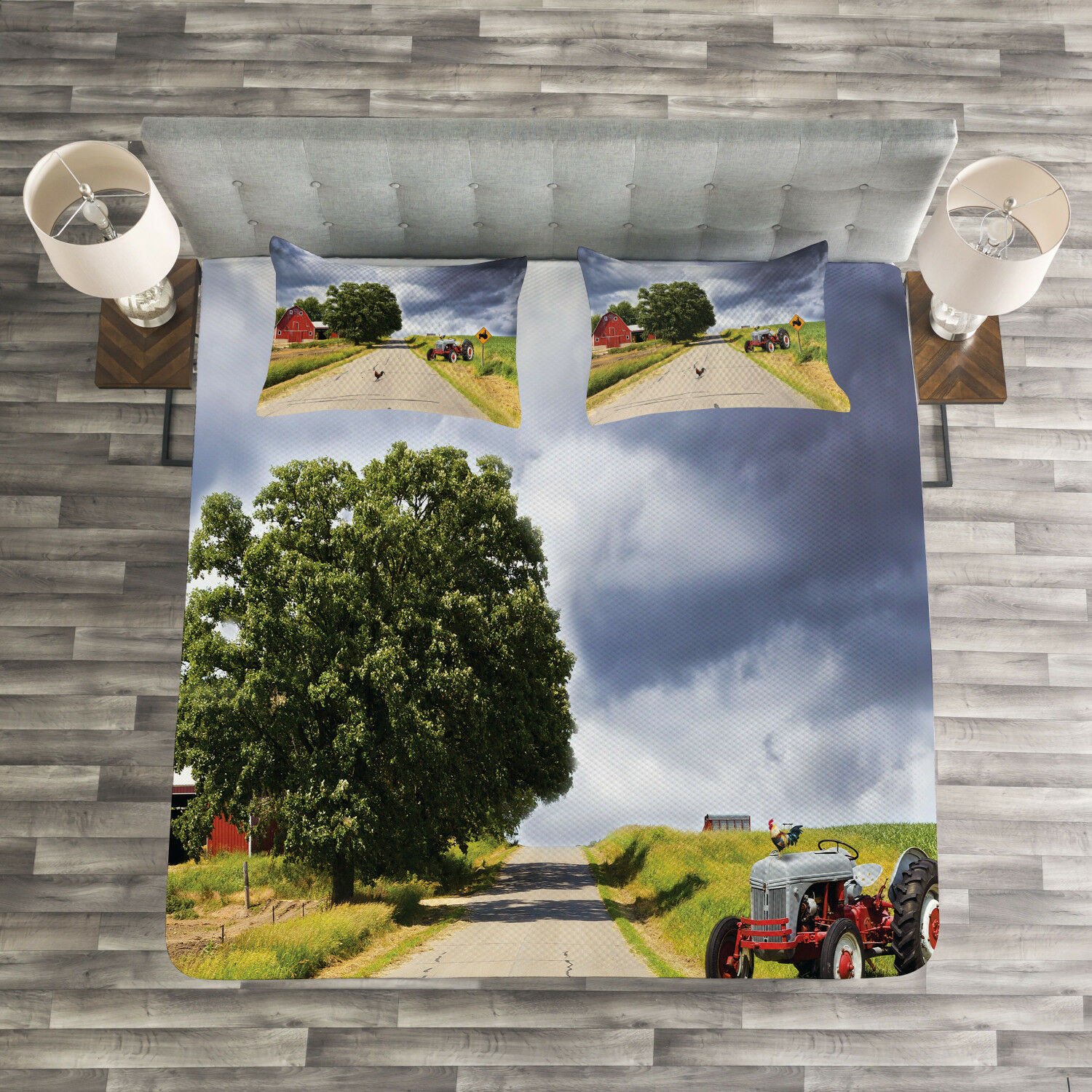 Rural Quilted Bedspread & Pillow Shams Set, Barn and Tractor on Side Print