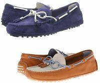 Cole Haan Womens Grant Tan White Or Blue White Slip-on Driver Driving Shoes