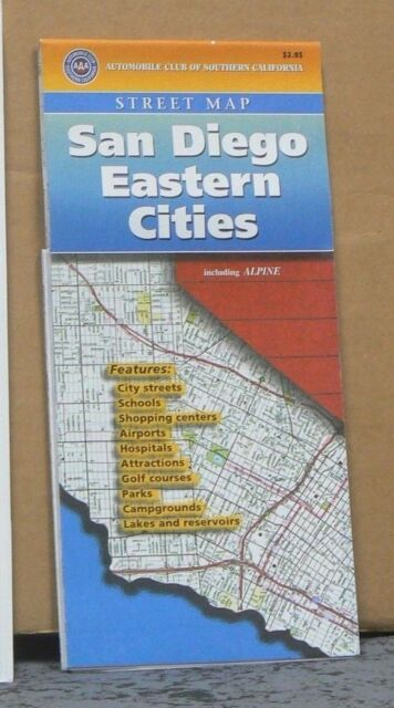 Aaa California Map.1998 Aaa Street Map Of San Diego Eastern Cities California Ebay