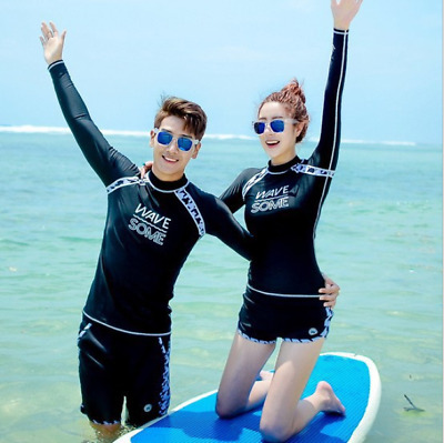 Couples Dress Fashion Black Surfing Diving Swimsuit Quick-dry Separate Swimwear