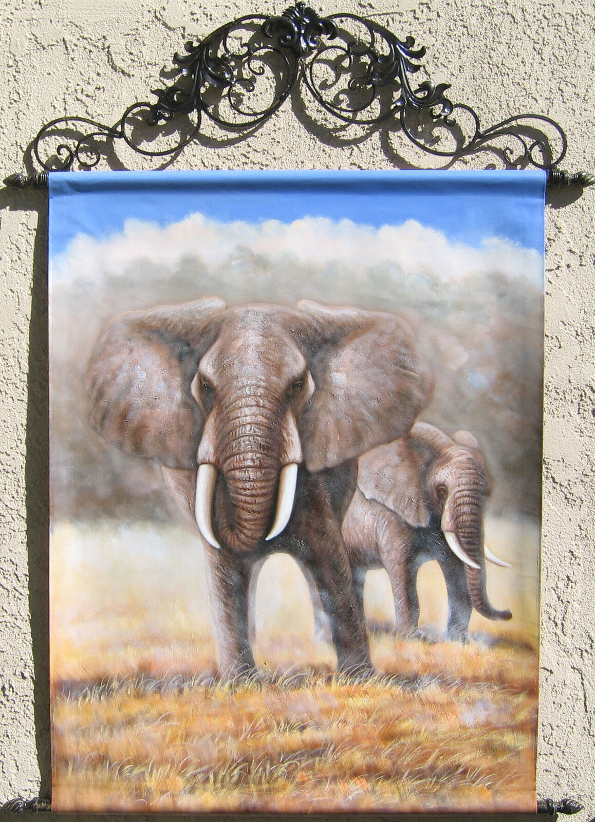 Elephants, Oil Painting Tapestry with Rods 57x43.5  FREE SHIPPING