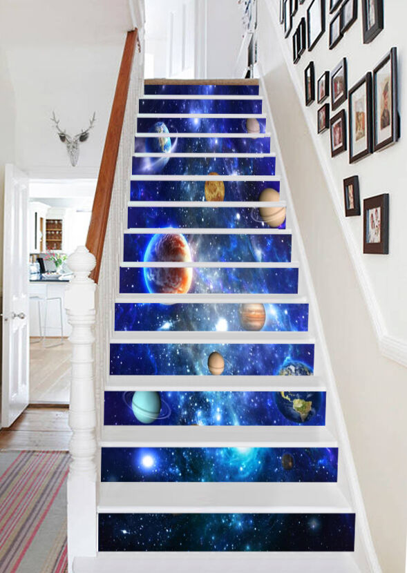 3D bleu Universe 77 Stair Risers Decoration Photo Mural Vinyl Decal Wallpaper AU