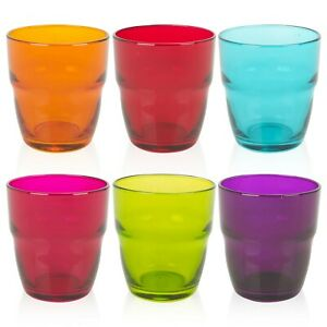 6-x-300ml-Bormioli-Rocco-Coloured-Drinking-Glasses-Water-Juice-Tumblers-Party