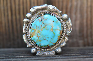 Vintage-Native-American-Navajo-Large-ring-with-possible-Carico-Lake-Turquoise