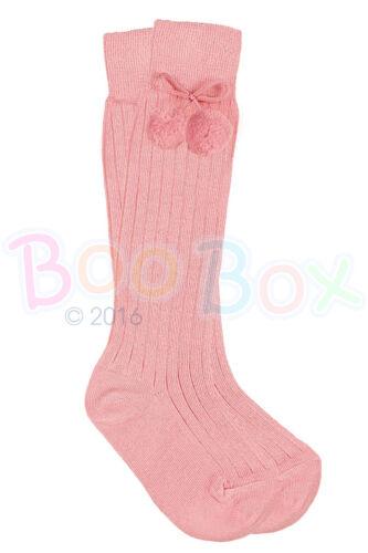 Boys//Girls 3//4 Knee High PomPom Socks Romany Spanish NB-6 Year Baby Boys//Girls