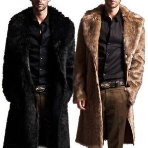 Mens Winter Faux Fur Warm Coat Parka Male Fashion Jacket Overcoat