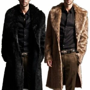 2a6ef6ded5be Mens Winter Faux Fur Warm Coat Parka Male Fashion Jacket Overcoat ...