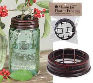 Mason-Canning-Jar-Flower-Frog-Lid-Top-Crackle-Black-Red-color-aged-finish