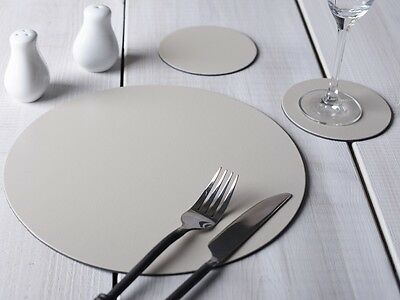 Set of 8 Cream Round Leatherboard PLACEMATS & 8 COASTERS (16 Piece Set)
