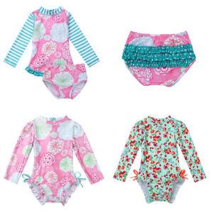 ce98f20e987d0 Image is loading Baby-Girls-Long-Sleeve-Swimwear-Floral-Ruffled-Swimsuit-