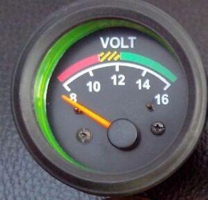 """Voltmeter gauge 12V  2/""""// 52mm  with wire harness black"""