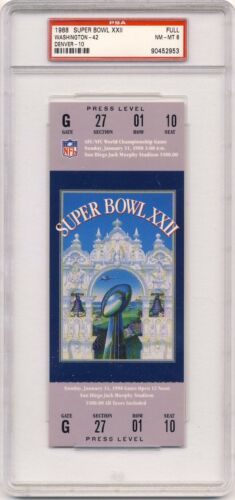 1988 Super Bowl XXII PSA 8 ticket