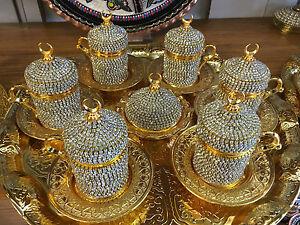 Handmade Turkish Coffee Espresso Serving Set Swarovski Crystal