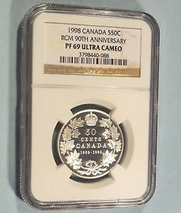 1998 Canada Silver Proof /'/'Antique Mirror Finish/'/' 50 Cents